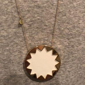 House of Harlow White Leather Sunburst Necklace